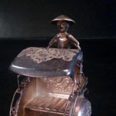 Antigüedades: FIGURA EN PLATA REPUJADA Y PUNZONADA. REPRODUCCIÓN DE RICKSHAW O TAXI JAPONÉS. S. XIX.. Lote 143033178
