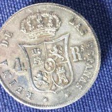 Antigüedades: BOTON DE SOLAPA CAPA MONARQUICO HECHO CON MONEDAS PLATA ISABEL II 4 REALES 24MM. Lote 143038558