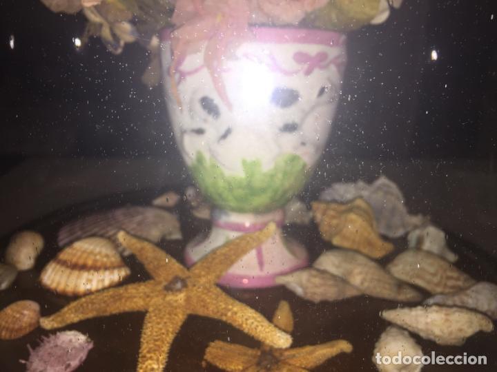 Antigüedades: Antiguo fanal de cristal soplado a mano Mallorquin peana y pomo flores de ropa isabelino siglo XIX - Foto 7 - 143041698