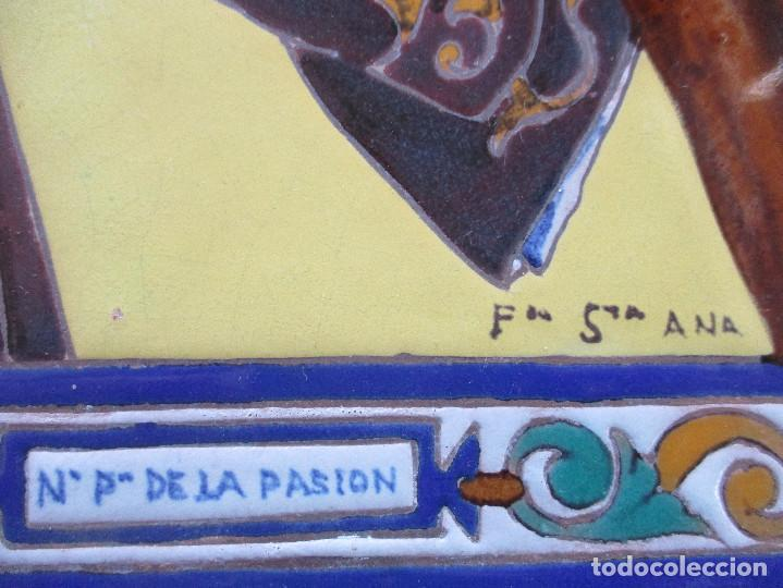 Antigüedades: Retablo ceramico azulejos N:P.J de Pasion - Foto 3 - 143091482