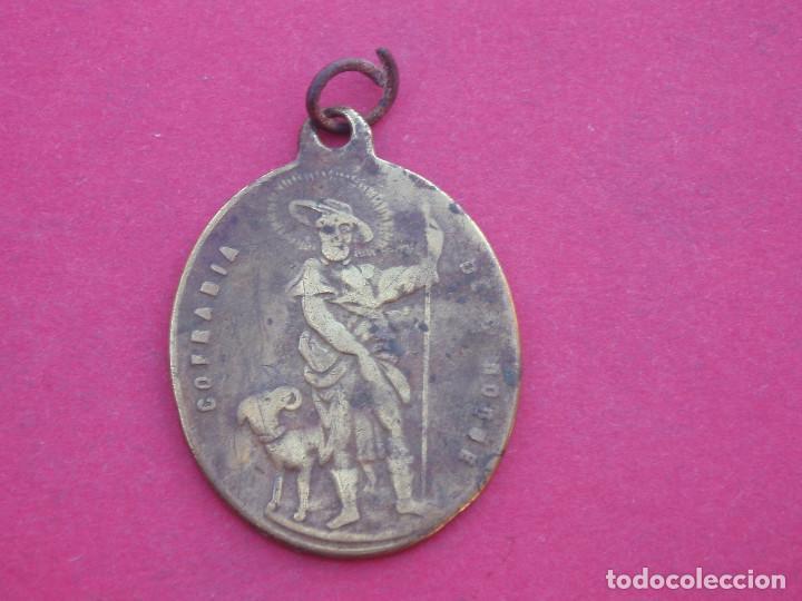 Antigüedades: Medalla Siglo XIX Virgen de Mediavilla. Cofradía de San Roque. Sarrión. Teruel. - Foto 2 - 143100514