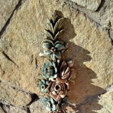 Antigüedades: CORNUCOPIA MADERA POLICROMADA. Lote 143112234