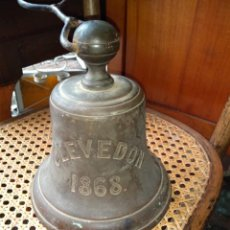 Antigüedades: CAMPANA INGLESA ANTIGUA 1868 DE MUELLE DE VAPORES. Lote 143154650