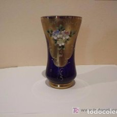 Antigüedades: JARRON VIDRIO AZUL ESMALTADO -. Lote 143163614