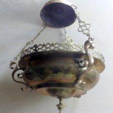 Antigüedades: ANTIGUA LAMPARA VOTIVA BRONCE SIGLO XIX , ROBUSTA, VER ADICIONALES. W. Lote 143171818