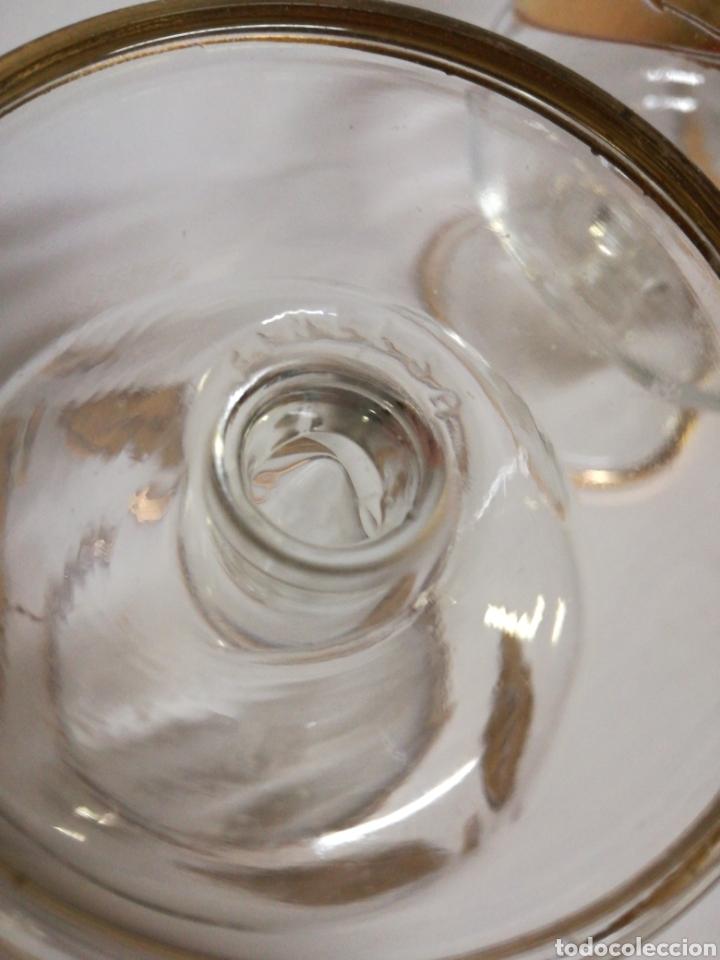 Antigüedades: Copas de Coñac Fimelsa. Años 50-60. Con hoja tallada e hilo dorado - Foto 3 - 143178484
