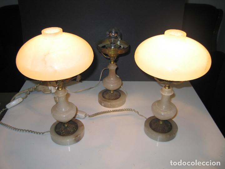 JUEGO DE ANTIGUAS LÁMPARAS DE ALABASTRO 2+1 (Antigüedades - Iluminación - Lámparas Antiguas)