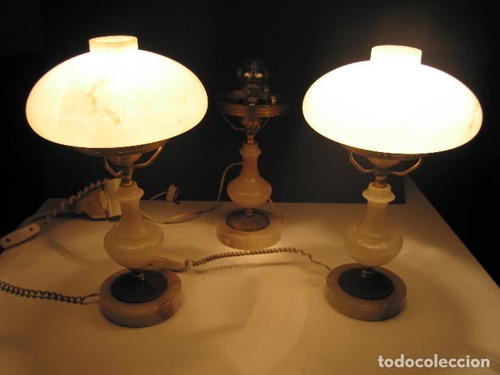 Antigüedades: Juego de antiguas lámparas de Alabastro 2+1 - Foto 3 - 143184078