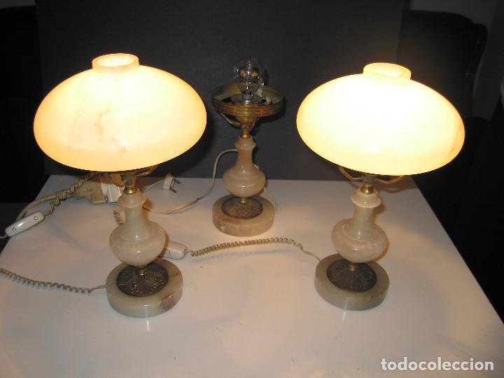 Antigüedades: Juego de antiguas lámparas de Alabastro 2+1 - Foto 4 - 143184078