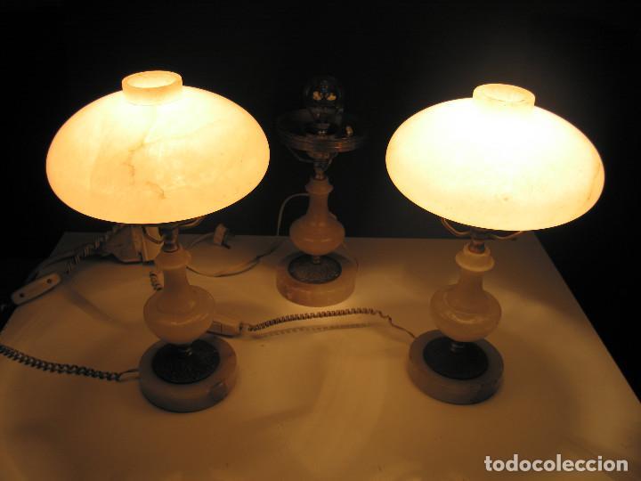 Antigüedades: Juego de antiguas lámparas de Alabastro 2+1 - Foto 5 - 143184078