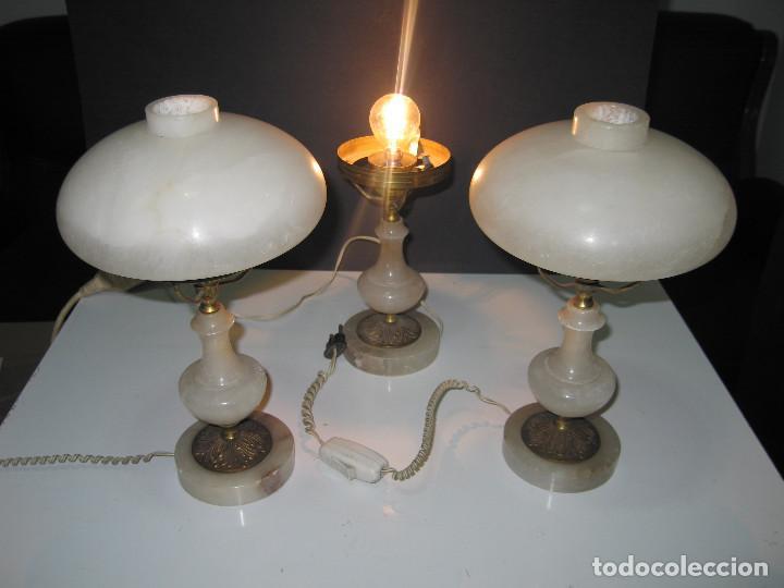 Antigüedades: Juego de antiguas lámparas de Alabastro 2+1 - Foto 6 - 143184078