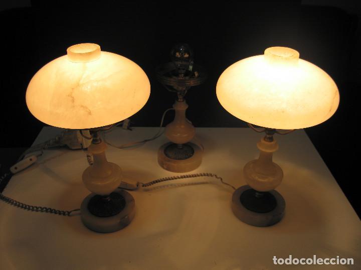 Antigüedades: Juego de antiguas lámparas de Alabastro 2+1 - Foto 2 - 143184078