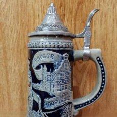 Antigüedades: ESPECTACULAR Y PRECIOSA JARRA DE CERVEZA BELGA CON TAPA DE ESTAÑO. Lote 143190194
