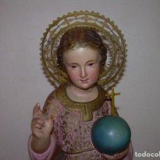 Antigüedades: ANTIGUA IMAGEN RELIGIOSA DE PASTA DE MADERA POLICROMADA.CON SELLO ARTE RELIGIOSO CRISTIANO DE OLOT.. Lote 143191094