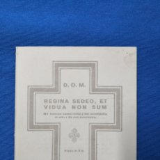 Antigüedades: ESQUELA MORTUORIA. DÑA. MARIA DE LAS NIEVES DE BRAGANZA Y DE BORBÓN. 1941. Lote 143219753