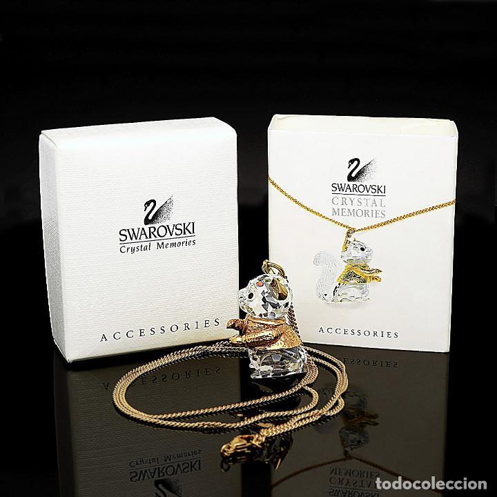 Antigüedades: Swarovski Collar y Colgante con diseño de Ardilla con Zafiros y chapados Dorados - Foto 2 - 143303110