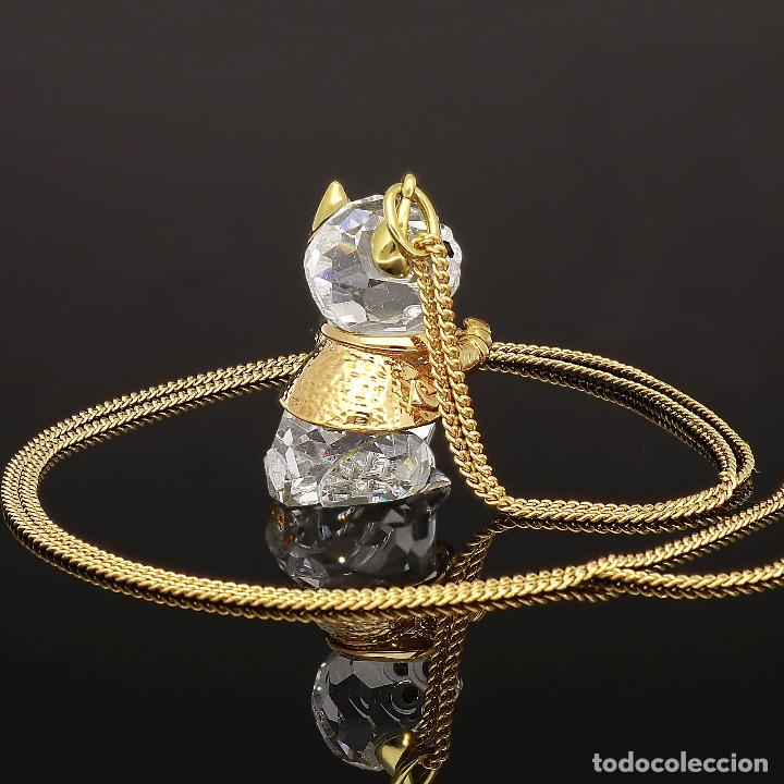 Antigüedades: Swarovski Collar y Colgante con diseño de Ardilla con Zafiros y chapados Dorados - Foto 3 - 143303110