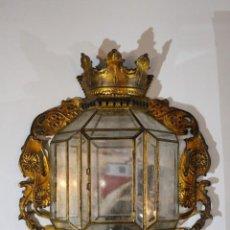 Antigüedades: ENORME FAROL GRANADINO DE HIERRO Y PAN DE ORO, SIGLO XIX. Lote 143345978
