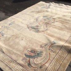 Antigüedades: ALFOMBRA CHINA ANTIGUA CON DRAGONES. Lote 143349056