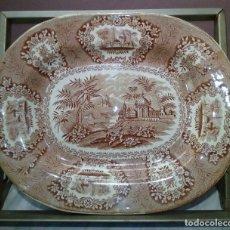 Antiguidades: ANTIGUA BANDEJA CERAMICA ORIENTAL WILLIAN LOWE - 26X22CM. Lote 143359674