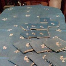 Antigüedades: ANTIGUA MANTELERIA DE HILO .- 6 SERVILLETAS + 8 SERVILLETAS DE POSTRE. Lote 143365850