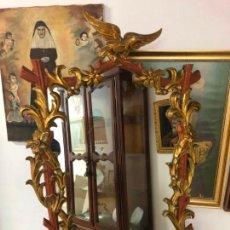Antigüedades: ANTIGUO ESPEJO DE MADERA CON MEDIDA 103X78 CM. Lote 143368030