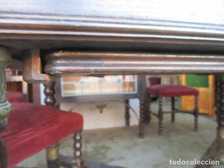 Antigüedades: Antiguo Comedor, Estilo Renacimiento - Madera de Roble - Decoraciones en Bronce - Circa 1900 - Foto 9 - 143378974