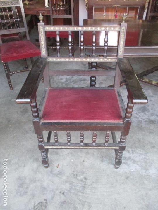 Antigüedades: Antiguo Comedor, Estilo Renacimiento - Madera de Roble - Decoraciones en Bronce - Circa 1900 - Foto 29 - 143378974
