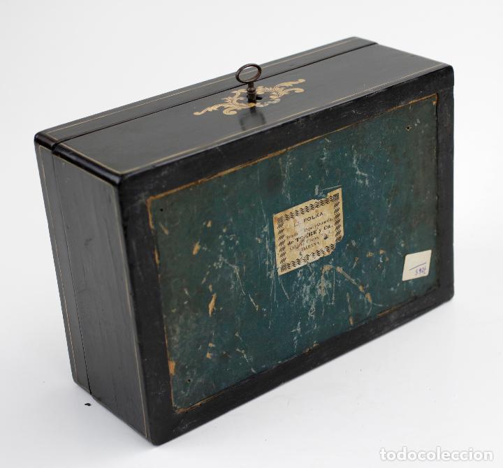 Antigüedades: Caja chapada de jacaranda, finales siglo XIX, etiqueta de Cuba, La Polka, Habana. 22x15x8,5cm - Foto 7 - 143393826