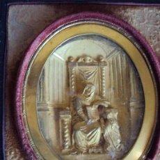 Antigüedades: (ANT-181225)RELICARIO DE VIAJE DE PLATA DORADA SOBRE MERCURIO - SIGLO XIX - ESTUCHE DE PIEL. Lote 143406694
