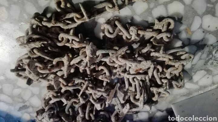 Antigüedades: 4,5 m cadena hierro antigua rompe terrones - Foto 3 - 143420714