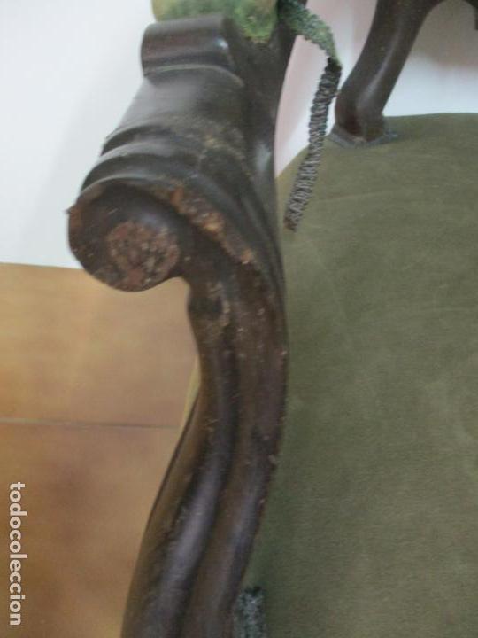 Antigüedades: Pareja de Sillones Isabelinos - Sillón, Madera de Caoba - Bonitas Formas Bombeadas - S. XIX - Foto 6 - 143421294