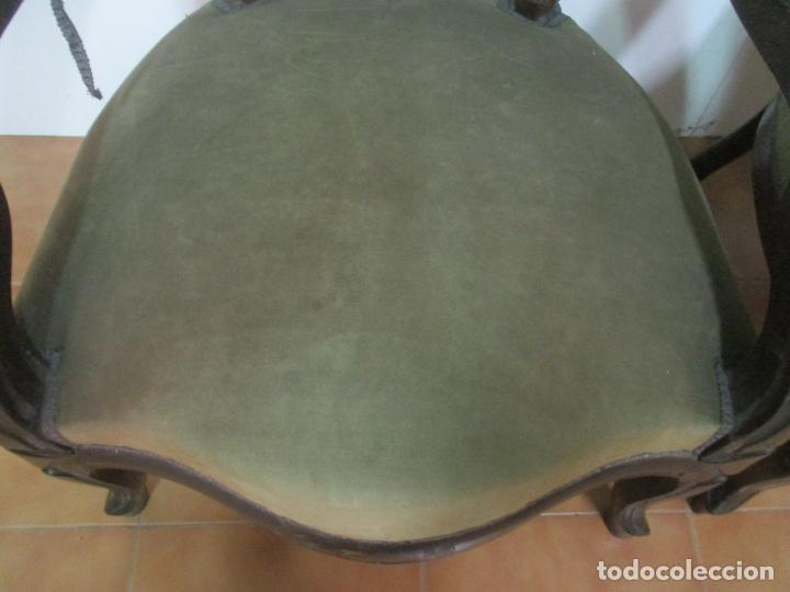 Antigüedades: Pareja de Sillones Isabelinos - Sillón, Madera de Caoba - Bonitas Formas Bombeadas - S. XIX - Foto 7 - 143421294