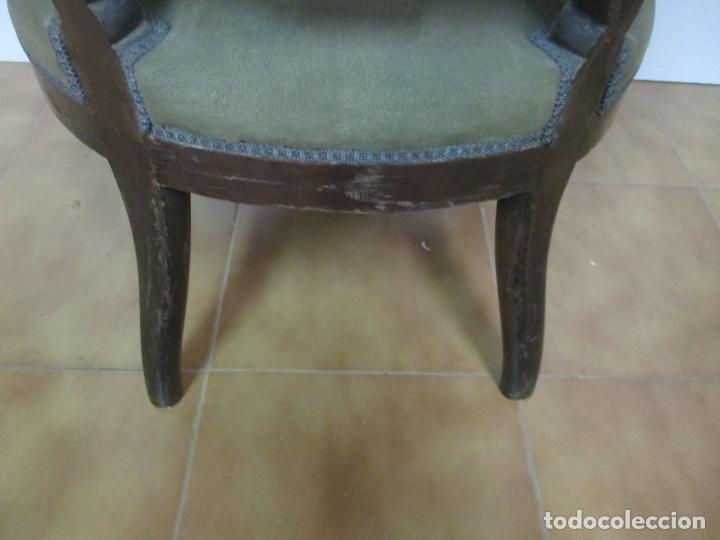 Antigüedades: Pareja de Sillones Isabelinos - Sillón, Madera de Caoba - Bonitas Formas Bombeadas - S. XIX - Foto 13 - 143421294