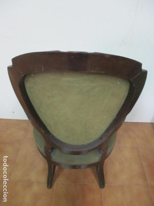 Antigüedades: Pareja de Sillones Isabelinos - Sillón, Madera de Caoba - Bonitas Formas Bombeadas - S. XIX - Foto 14 - 143421294