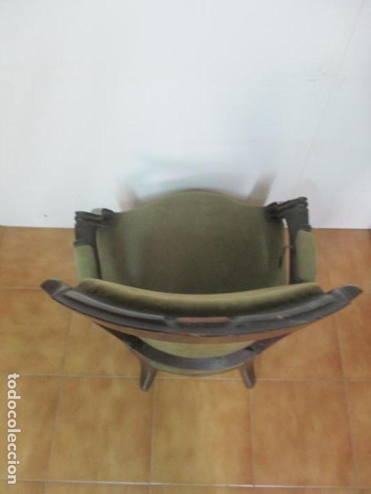 Antigüedades: Pareja de Sillones Isabelinos - Sillón, Madera de Caoba - Bonitas Formas Bombeadas - S. XIX - Foto 16 - 143421294