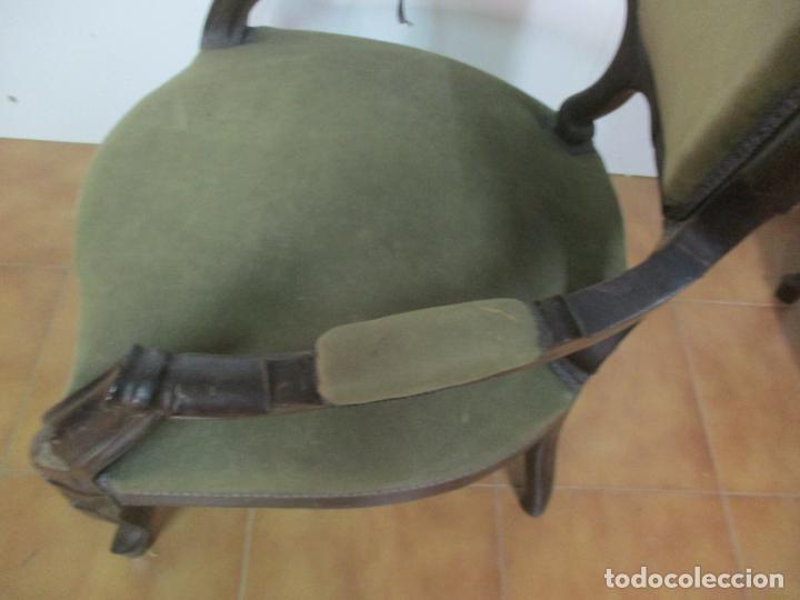 Antigüedades: Pareja de Sillones Isabelinos - Sillón, Madera de Caoba - Bonitas Formas Bombeadas - S. XIX - Foto 20 - 143421294