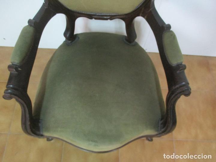 Antigüedades: Pareja de Sillones Isabelinos - Sillón, Madera de Caoba - Bonitas Formas Bombeadas - S. XIX - Foto 23 - 143421294
