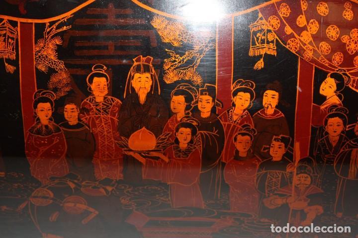 Antigüedades: BAUL EN MADERA LACADA CHINA CON ESCENAS ORIENTALES. MEDIADOS SIGLO XX - Foto 9 - 143566518