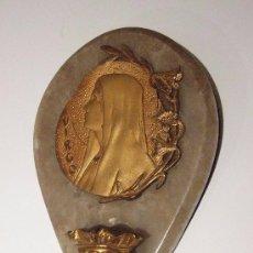 Antigüedades: BENDITERA BRONCE DORADO Y MARMOL MARCA SANTAMARIA. Lote 143617534