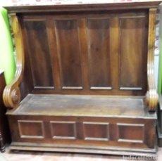 Antigüedades: ANTIGUO BANCO DE NOGAL, SIGLO XIX. Lote 143662274