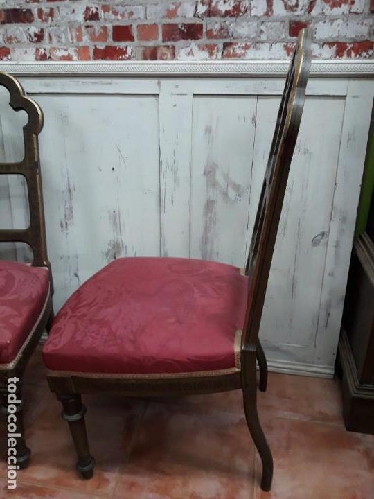 Antigüedades: Pareja de sillas de habitación policromadas Siglo XIX - Foto 6 - 143662914