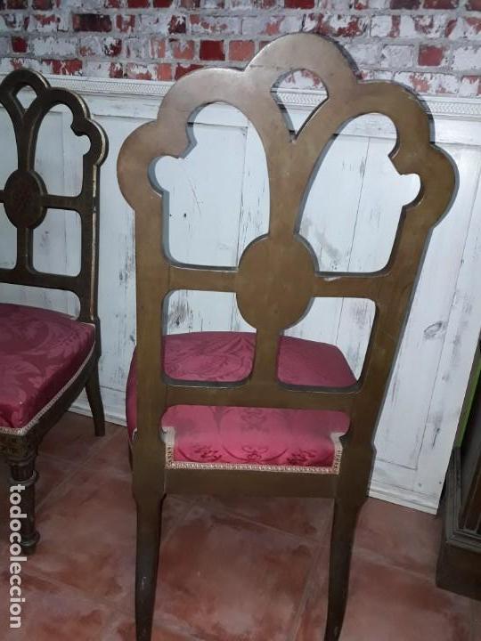 Antigüedades: Pareja de sillas de habitación policromadas Siglo XIX - Foto 7 - 143662914
