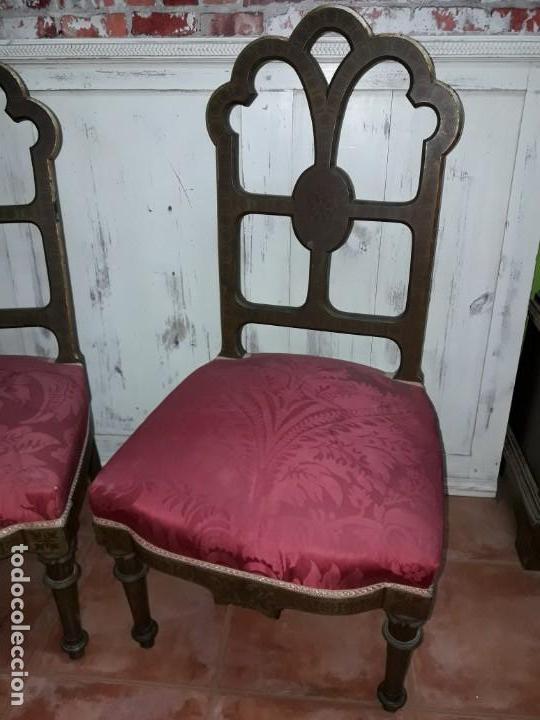 Antigüedades: Pareja de sillas de habitación policromadas Siglo XIX - Foto 2 - 143662914
