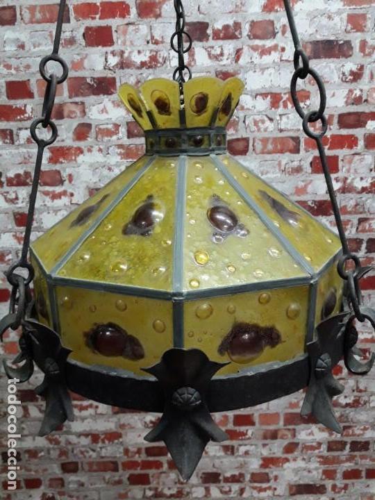 Antigüedades: Lampara artesanal de hierro y cristal emplomado, siglo XX - Foto 2 - 143663878