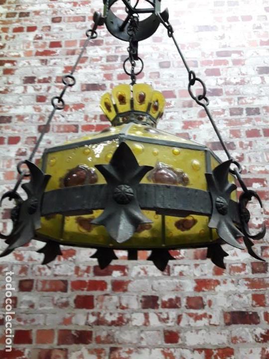 Antigüedades: Lampara artesanal de hierro y cristal emplomado, siglo XX - Foto 3 - 143663878