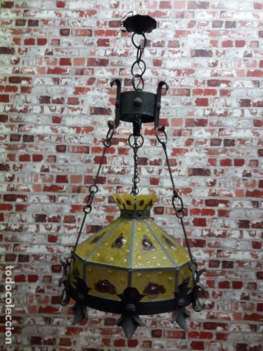 Antigüedades: Lampara artesanal de hierro y cristal emplomado, siglo XX - Foto 10 - 143663878