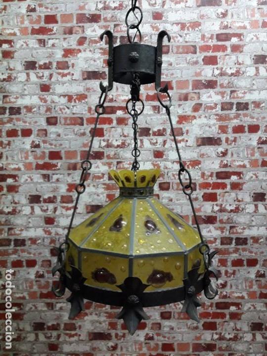LAMPARA ARTESANAL DE HIERRO Y CRISTAL EMPLOMADO, SIGLO XX (Antigüedades - Iluminación - Lámparas Antiguas)