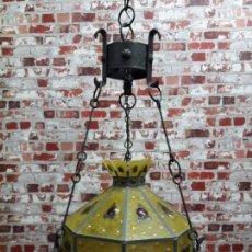 Antigüedades: LAMPARA ARTESANAL DE HIERRO Y CRISTAL EMPLOMADO, SIGLO XX. Lote 143663878