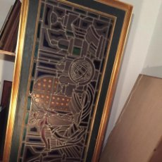 Antiques: VIDRIERA EMPLOMADA DE JOSÉ MANMEJEAN 56 X 1,56 . Lote 143682486